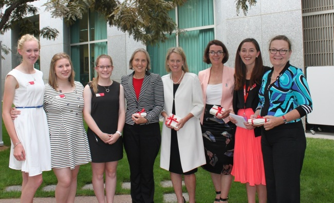 "Winners of  ""Country to Canberra"" essay competition with (from L to R):  Senator Lee Rhiannon, Assistant Minister for Health Fiona Nash, Senator Anne Ruston, Hannah Wandel, and Senator Jan Lucas."