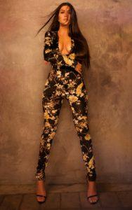 Black Floral Velvet Jumpsuit