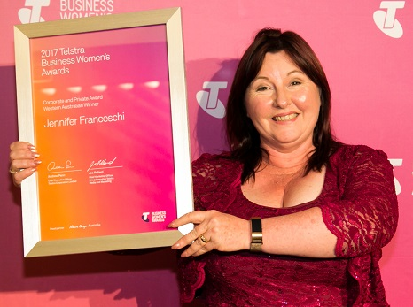 Jennifer Franceschi named 2017 Telstra Western Australian Business Woman of the Year