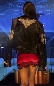 Black Embellished Applique Detail PU Biker Jacket