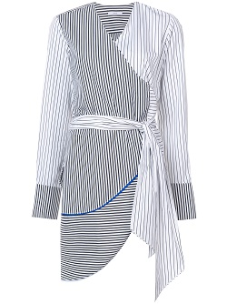 TOME asymmetric wrap striped blouse