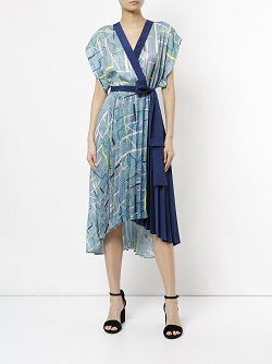 GINGER & SMART geometric pattern wrap dress
