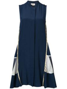 ZEUS+DIONE metallic trim contrast panel dress