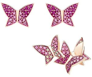 Swarovski Lilia Pierced Earring Set, Multi-colored, Rose gold plating Light Multi Rose gold-plated