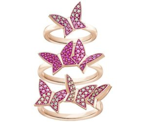Swarovski Lilia Ring Set, Multi-colored, Rose gold plating Light Multi Rose gold-plated