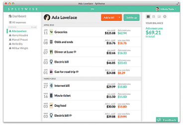 Screenshot of Splitwise App