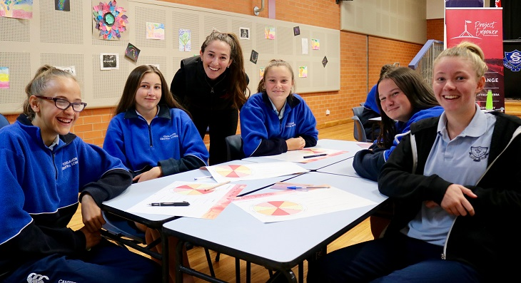 Hannah Wandel with students from Coolamon, NSW
