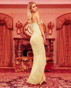 Paris Hilton Mesh Ruffle Open Shoulder Dress