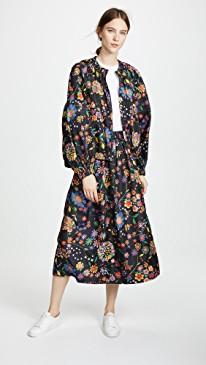Tibi Smocked Floral Skirt