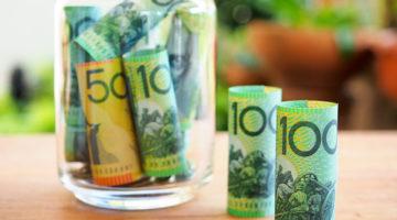 Australia bank note saving in glass